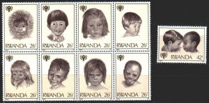 Rwanda. 1979. 992-1000. UNICEF children. MNH.