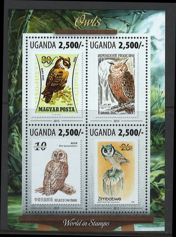 Uganda Scott 2073 MNH! Owls! Sheet of 4!
