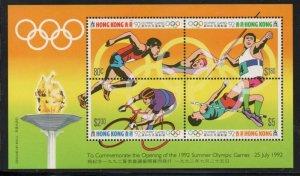 Hong Kong Sc 628 1992 Olympics stamp souvenir sheet mint NH