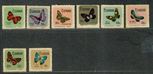 Ecuador Sc#789-796 M/NH/VF, Butterflies, Cv. $26