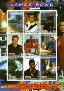 Turkmenistan 2001 JAMES BOND 007 Celebrity Icons Sheet Perforated Mint (NH)