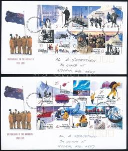 Australian Antarktis stamp Research Station complete sheet on 2 FDC WS243799
