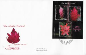 Samoa 2013 FDC Teuila Festival 3v M/S Cover Flowers Culture Cultural
