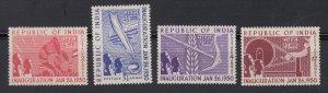 J28337 1950 india set mh #227-30 designs