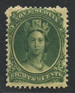 01910 Nova Scotia Scott #11 8-cents green, mint OG hinged