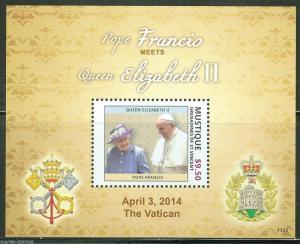 MUSTIQUE  2014   POPE FRANCIS MEETS QUEEN ELIZABETH II  SOUVENIR SHEET   MINT NH