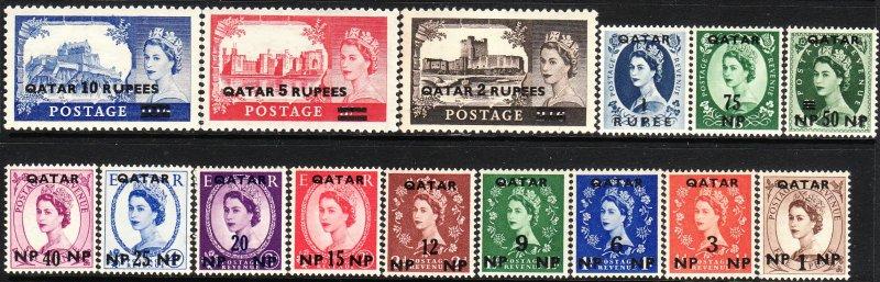 1957 Qatar QE Queen Elizabeth O/P complete set (15)  MLH Sc# 1/15 CV: $41