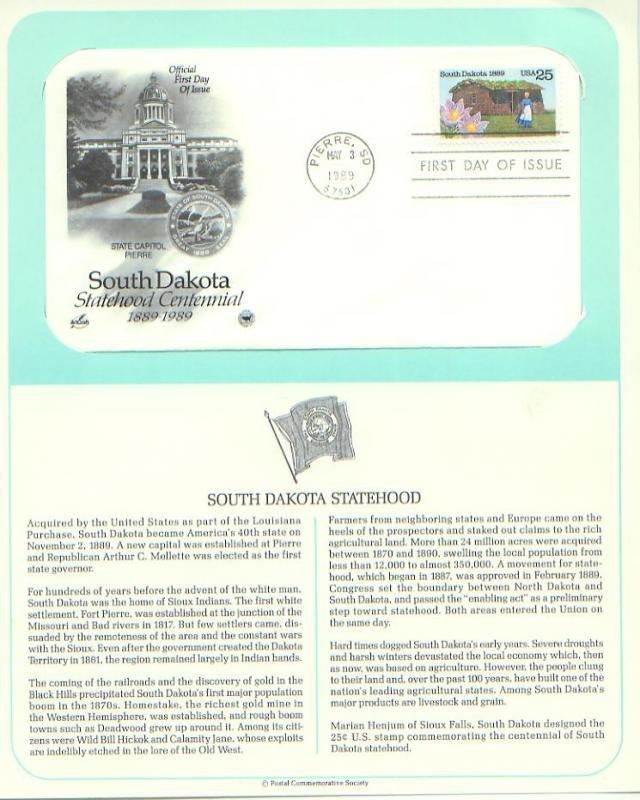 South Dakota Statehood, FDC (USHFDC2416)