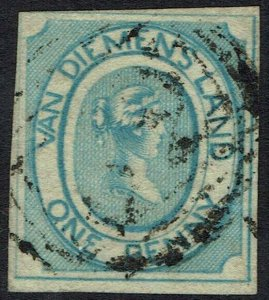 TASMANIA 1853 QV COURIER 1D USED