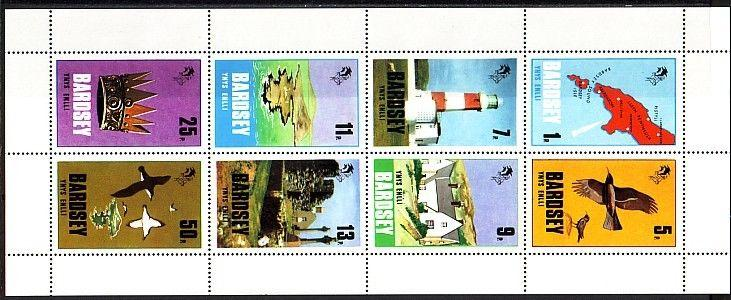 Bardsey, 1979 issue. Lighthouse and Birds on a sheet of 8. *