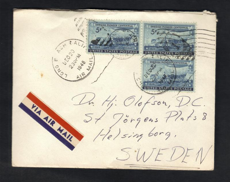 Sc# 958 US Postal Cover Block Of (3) Tied Together Swedish Pioneer &Xmas Seal