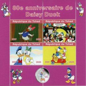 Chad Disney Stamps 2020 MNH Daisy Duck Donald Cartoons Animation 4v M/S
