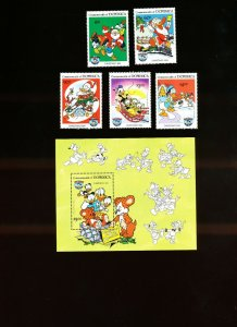 DOMINICA - Scott 869-874  VFMNH - DISNEY - Donald Duck Christmas Comics - 1984