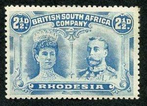 Rhodesia SG133 2 1/2d Chalky Blue Double Head M/M (hinge remainder) Cat 32 poun