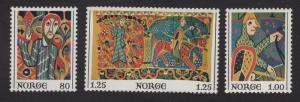 Norway  #685-687   1976   MNH  tapestry Baldishol Stave Church