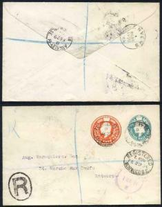 ESC622 KEVII 1/2d Blue Green and 4d Stamped to Order Envelope Used
