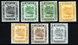 BRUNEI 1924-37 Brunei River Part Set Wmk Mult Script CA SG 60 to SG 72 MINT