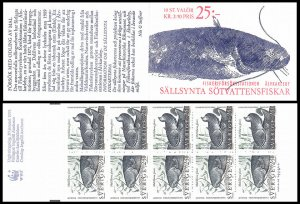 H412 Sweden 1991 catfish Fish stamps WWF Scott #1867-1868 MNH stamp booklet