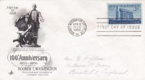 United States 1956 100th anniversary of Booker T Washingtons Birth FDC Used