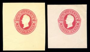 momen: US Stamps #U211, U217 1875 CORNER CUT SQUARE NH XF