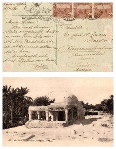 1925 TUNISIA MULTI STAMP ON POST CARD TO SWITZERLAND  ( Postal History ), 1925