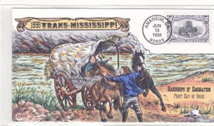 COLLINS HAND PAINTED FDC Sc# 3209f Trans Mississippi 1998 First Day Issue Cover