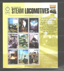 SIERRA LEONE 2004 TRAINS MS.#2781  MNH