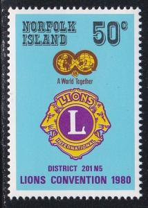Norfolk Island # 254, Lions Convention, NH, 1/2 Cat.