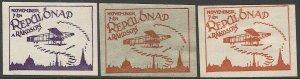 HUNGARY 1920  Three MH Aviation Meet Labels: Repülőnap a Rákoson