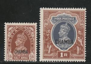 CHAMBA 1942 KGVI 1/2A AND 1R