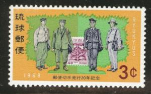 RYUKYU (Okinawa) Scott 170 MNH** 1968 mailmen uniform stamp