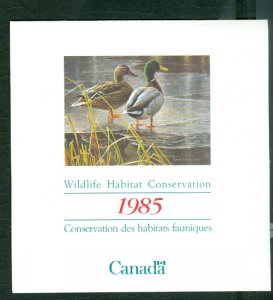 CANADA 1985 MALLARDS WILDLIFE CONSERV  #FWH1(VAN DAM) SHEET & FOLDER...$20.00