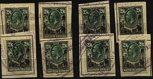 NORTHERN RHODESIA 1925 GV 2/6d SG12 x 8 fiscally used on pieces...........98530