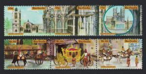 Barbuda Royal Silver Jubilee 1st issue 6v strips SG#298-303