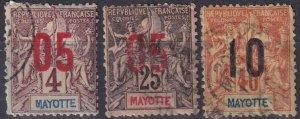 Mayotte #23, 26, 28 Used  CV $6.00  (Z6945)
