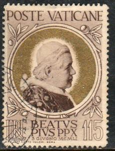 VATICAN 148, BEATIFICATION OF POPE PIUS X, USED. F-VF. (405)