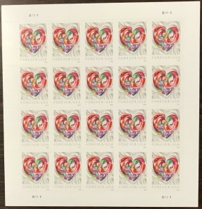 5036    Love-Quilted Paper Heart   MNH Forever sheet of 20     FV $11.00    2016