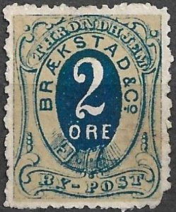 NORWAY - 6 Braekstad & Co. By-Post (Local Post) - two sizes -Cinderella Ephemera