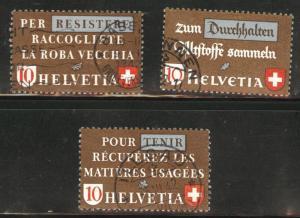 Switzerland Scott 281-283 used stamp set from 1942