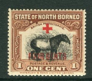 NORTH BORNEO; 1918 early Red Cross FOUR CENTS surcharge Mint hinged 1c.