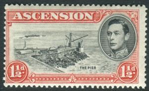 ASCENSION-1938-52 1½d Black & VermilionDAVIT FLAW mounted mint example Sg 40a