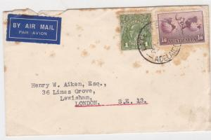 Australia  Airmail to England Late Fee Adelaide CancelStamps Cover R 19016