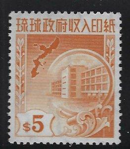 Ryukyu Islands 1959 $5 Revenue Sc# R27 NH