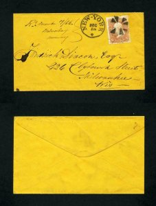 # 65 on cover from New York, New York to Milwaukee, Wisconsin dated 12-10-1866