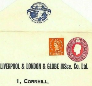 GB KGVI ADVERT POSTAL STATIONERY Liverpool London Globe Insurance Cover Ai141