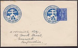 GB CZECHOSLOVAKIA 1944 cover Czech Forces in UK, commem cancel..............7312