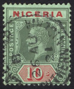 Nigeria 1915 10s Green & Red on blue green Scott 11 SG 11a VFU Cat $95