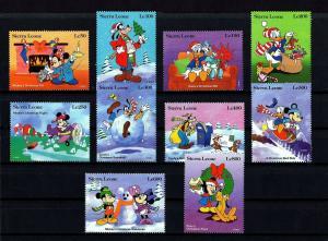 SIERRA LEONE - 1992 - DISNEY - MICKEY'S  CHRISTMAS - MINNIE - DONALD ++ MNH SET!