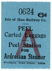 (I.B) Isle of Man Railway : Carted Luggage 6d (Ardrossan Steamer)