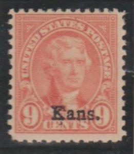U.S. Scott #667 Jefferson - Kansas Overprint Stamp - Mint Single
